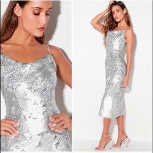No Signs Silver Sequin Midi Dress
